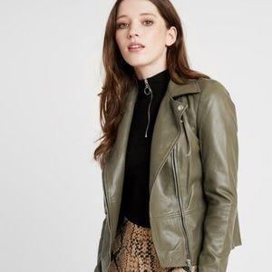 Zara Trafaluc | Olive Faux Leather Moto Jacket